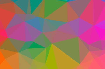 Illustration of abstract Green, Orange, Pink, Purple, Red, Yellow horizontal low poly background. Beautiful polygon design pattern.