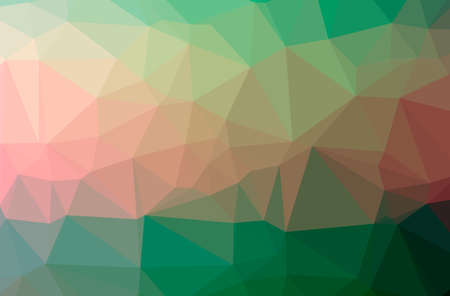 Illustration of abstract Green, Red horizontal low poly background. Beautiful polygon design pattern.