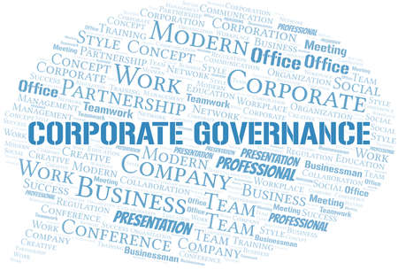 Corporate Governance vector word cloud, made with text only.