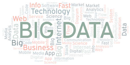 Big Data vector word cloud, made with text only.