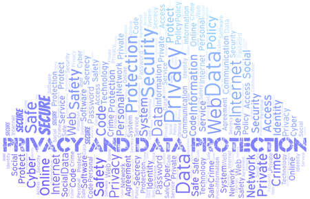Privacy And Data Protection vector word cloud, made with text only.