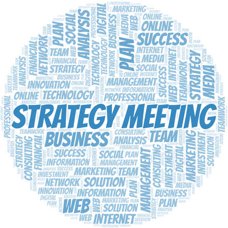 Strategy Meeting word cloud create with text only.