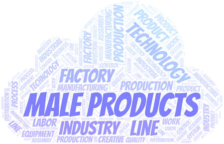 Male Products word cloud create with text only.