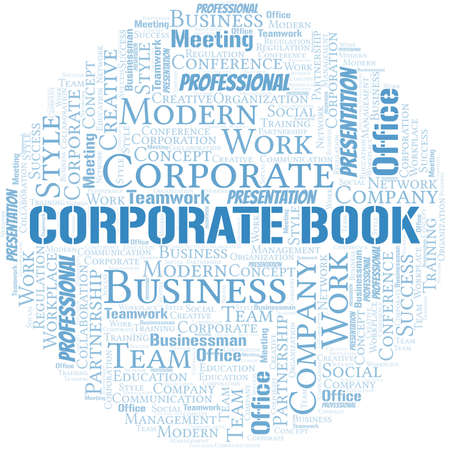 Corporate Book vector word cloud, made with text only.