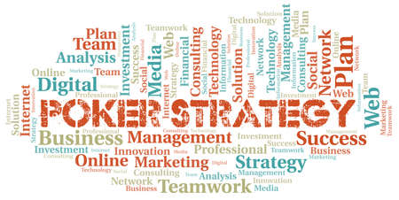 Poker Strategy word cloud create with text only.
