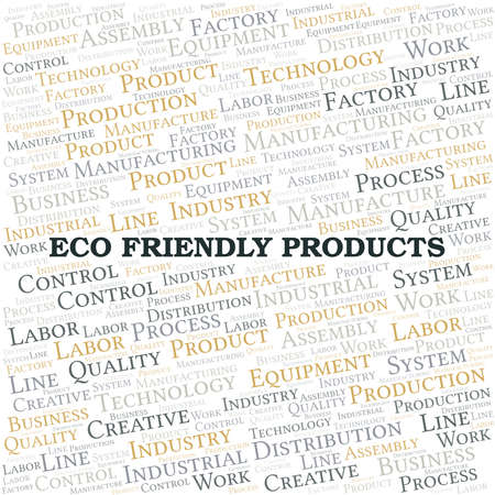 Eco Friendly Products word cloud create with text only. Ilustração