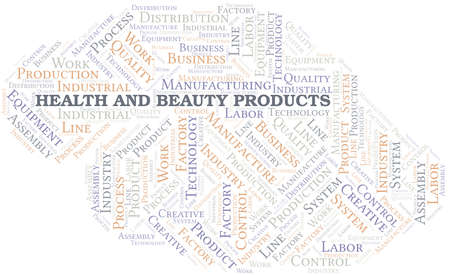 Health And Beauty Products word cloud create with text only.