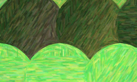 Dark green circles large color variation oil paint background, digitally created.