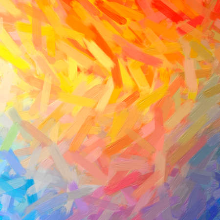 Illustration of abstract Orange, Yellow And Red Oil Paint With Big Brush Square background.