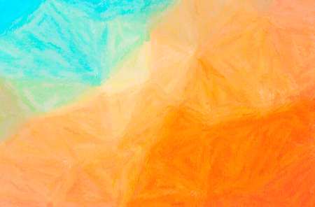 Abstract illustration of blue, orange Wax Crayon background