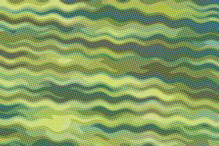 Yellow, green and light blue waves paint with dots background, digitally created. Banco de Imagens