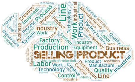 Selling Product word cloud create with text only. Ilustração