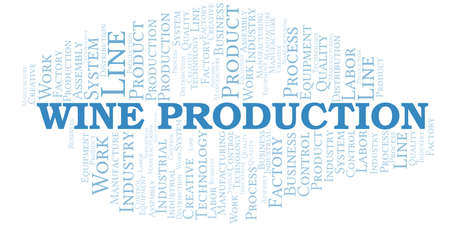 Wine Production word cloud create with text only.