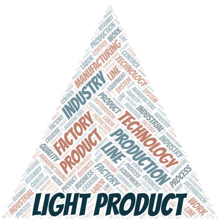 Light Product word cloud create with text only. Illustration