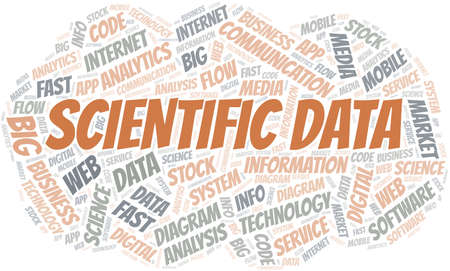 Scientific Data vector word cloud, made with text only.