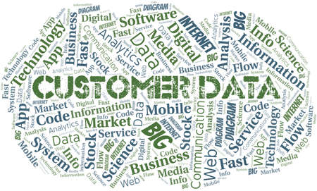 Customer Data vector word cloud, made with text only. Illustration