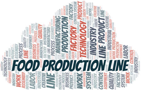 Food Production Line word cloud create with text only.