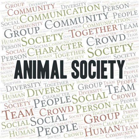 Animal Society word cloud create with text only. Illustration