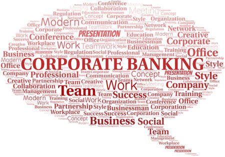 Corporate Banking vector word cloud, made with text only.