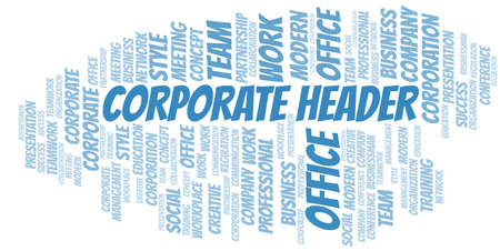 Corporate Header vector word cloud, made with text only.