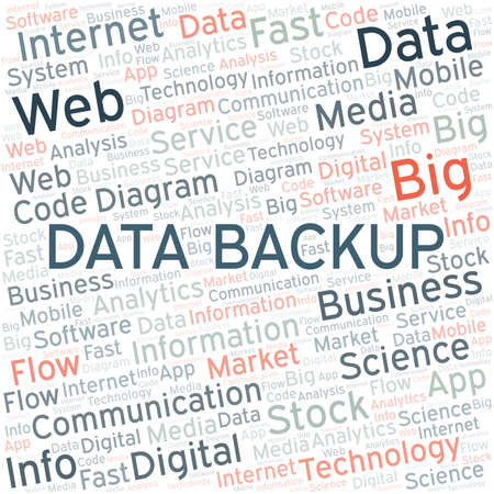 Data Backup vector word cloud, made with text only.