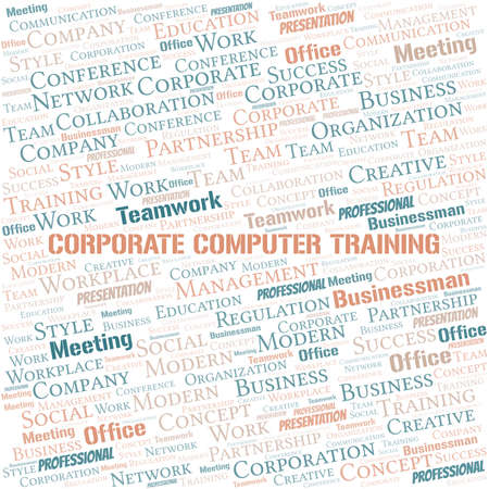Corporate Computer Training vector word cloud, made with text only.