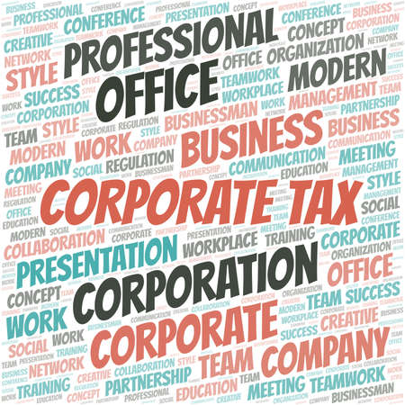 Corporate Tax vector word cloud, made with text only.