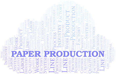 Paper Production word cloud create with text only.