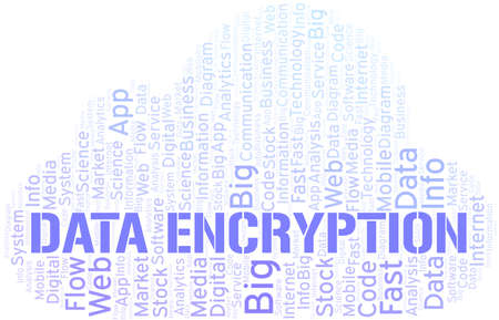 Data Encryption vector word cloud, made with text only.