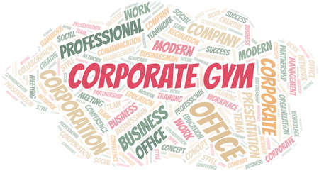 Corporate Gym vector word cloud, made with text only.