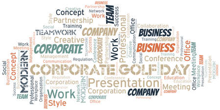 Corporate Golf Day vector word cloud, made with text only. Illustration