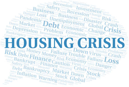 Housing Crisis word cloud create with text only.