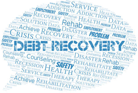 Debt Recovery vector word cloud, made with text only.