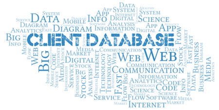 Client Database vector word cloud, made with text only.
