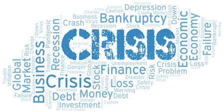 Crisis word cloud create with text only.