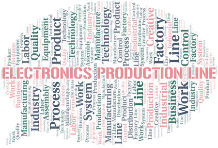 Electronics Production Line word cloud create with text only. Illustration