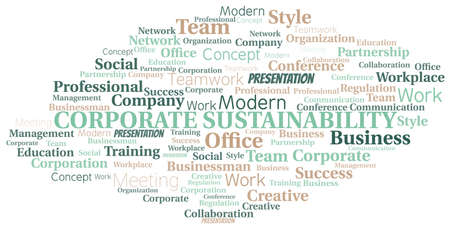 Corporate Sustainability vector word cloud, made with text only. Illustration