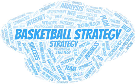 Basketball Strategy word cloud create with text only. Illustration
