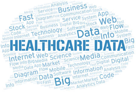 Healthcare Data vector word cloud, made with text only. Illustration