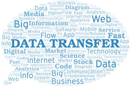 Data Transfer vector word cloud, made with text only. Illustration
