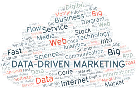 Data-Driven Marketing vector word cloud, made with text only. Illustration