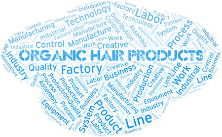 Organic Hair Products word cloud create with text only.