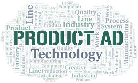 Product Ad word cloud create with text only. Illustration