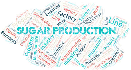 Sugar Production word cloud create with text only. Illustration
