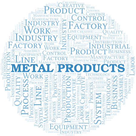 Metal Products word cloud create with text only. Illustration