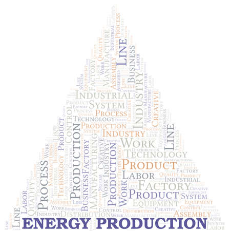 Energy Production word cloud create with text only. Illustration