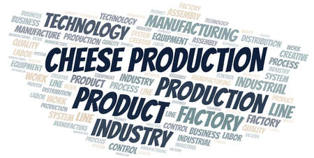Cheese Production word cloud create with text only.