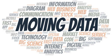 Moving Data vector word cloud, made with text only.