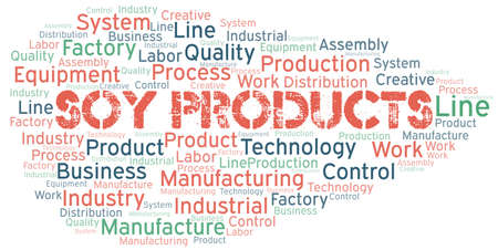 Soy Products word cloud create with text only.