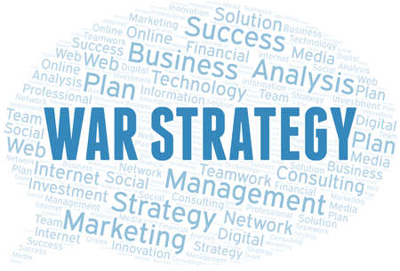 War Strategy word cloud create with text only. Illustration